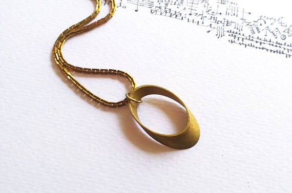 Minimal Brass Necklace Geometric Vintage Upcycled Rustic