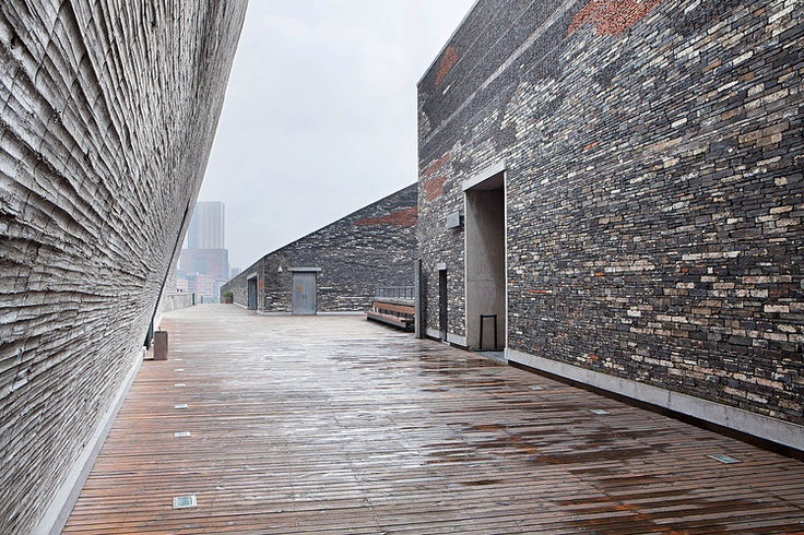 The rooftop of the Ningbo Museum of Art.