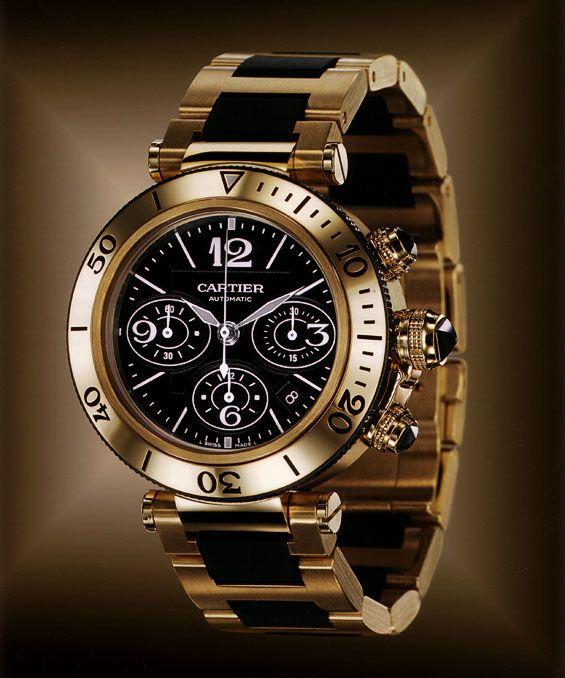 La Cote des Montres : Cartier Pasha Seatimer chronographe en or jaune 18 carats, calibre Cartier 8630