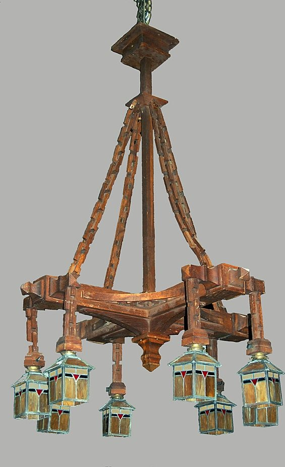 10 best craftsmanmission style chandelier images on pinterest chandelier carved wood craftsman arts crafts stained glass shades aloadofball Gallery