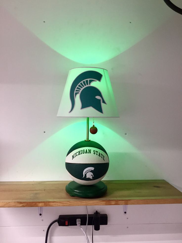 Michigan State Spartans Lamp, Spartans, basketball, basketball light, NCAA, basketball lamp, kids room, man cave, night light, MSU by CaliradoArt on Etsy https://www.etsy.com/listing/505679480/michigan-state-spartans-lamp-spartans