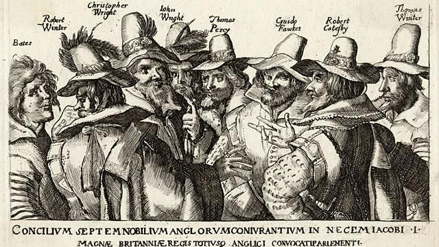 NOV. 5, 1605:  Guy Fawkes arrested and The Gunpowder Plot of Fawkes and 12 others to blow up Parliament was discovered.  image: Unattributed engraving of Guy Fawkes and fellow conspirators of the Gunpowder Plot, 1605