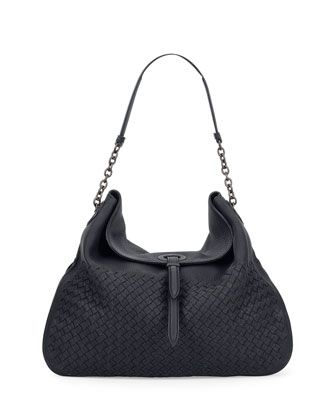 """Bottega Veneta hobo bag in signature intrecciato woven deerskin. Chain and leather shoulder strap, 7"""" drop. Flap top with strap detail and magnetic closure. Interior, suede lining; one zip pocket. 12."""