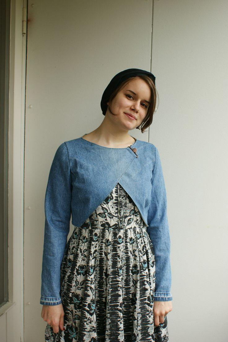 Sadie the Sewing Machine - bolero is re-created from denim overalls