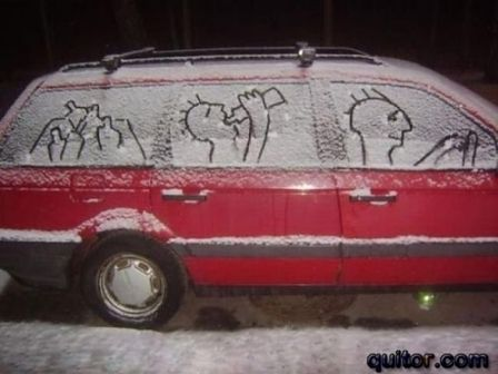 snow family in their car