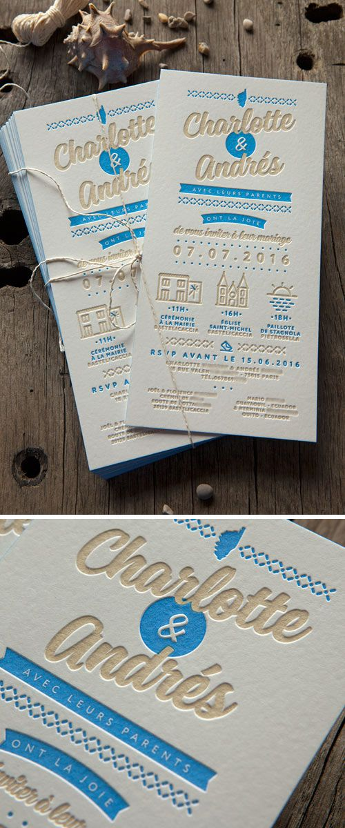 Faire-part inspiration soleil et mer de la Corse - modèle personnalisable / Cocorico Letterpress customizable letterpress wedding invite