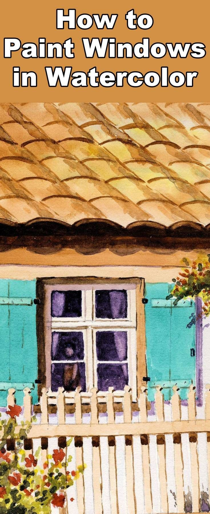 Learn how to paint glass and windows with this watercolor painting tutorial