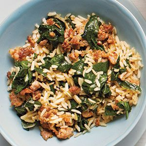 Sausage-Spinach Rice Bowl | Definitely one to make again. I used spicy venison sausage (courtesy of my sister and brother-in-law) and lots and lots of garlic. I also cooked my own brown rice just because I do not keep pre-cooked stuff like that on hand. Really good, quick, and doesn't make a ton (I hate eating leftovers for a week!).