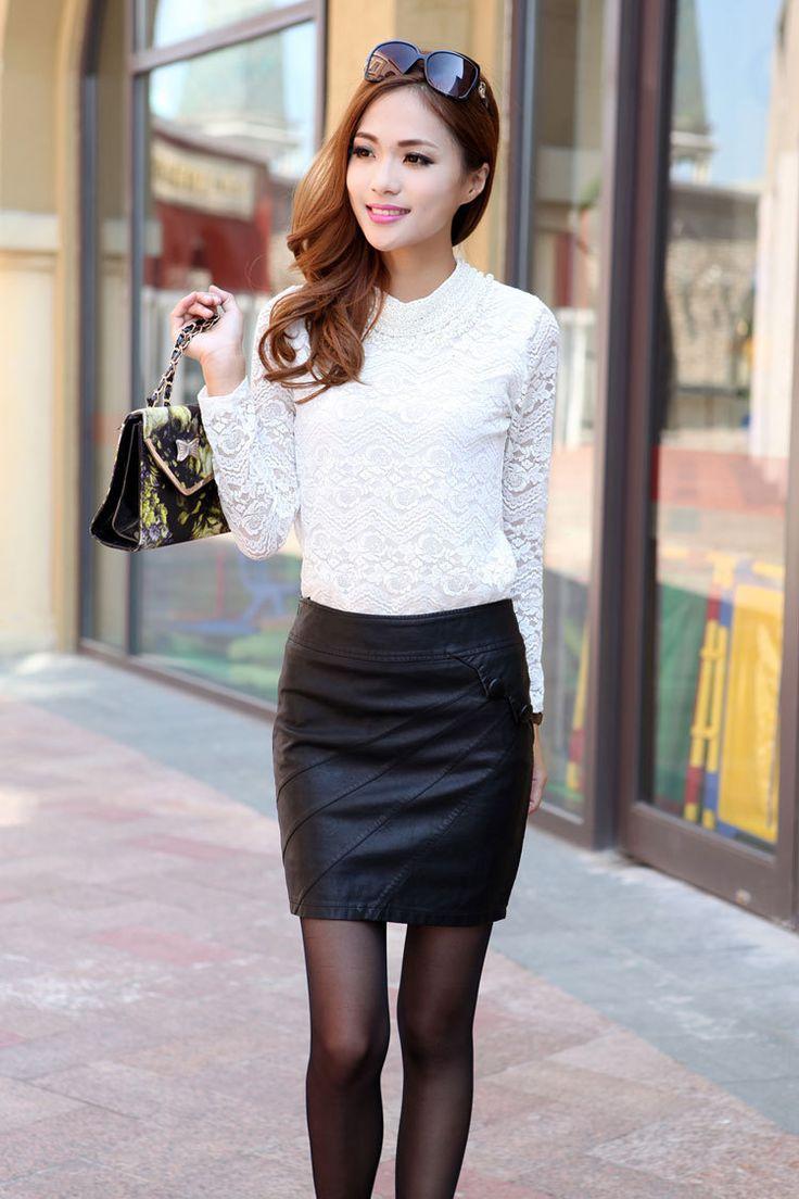 Free-shipping-2013-new-bag-hip-Korean-skin-thin-A-line-black-leather-skirt-M-L.jpg (750×1125)