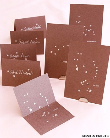 """Incorporation of """"space""""?        Get the Constellation Seating Cards How-To  (via Wedding Invitations & Stationery 