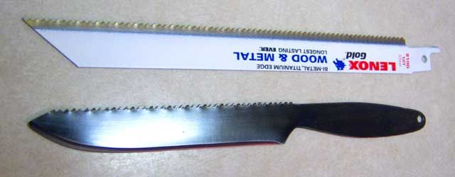 Converting Sawzall blades  to knives.  (This site also has several other pages discussing knifemaking tools and techniques.)