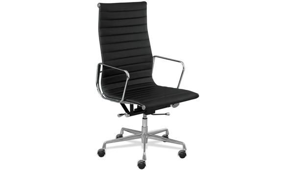 Eames Reproduction Boardroom Office Chair High Back Black. This Eames reproduction with a High Back is the perfect Boardroom chair for your colleagues and clients. It has a back that is a bit higher than most chairs covering your entire back and head, so no headrest is needed! The swivel and tilt mechanism adds to the comfort of the chair along with the ability to lock it in the upright position.