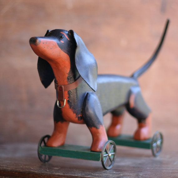 The Dachshund - Pulltoy, folk, folkart, farmhouse, primitive, weiner, dog