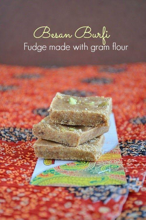Besan ki Burfi- Fudge made with Roasted Gram flour.