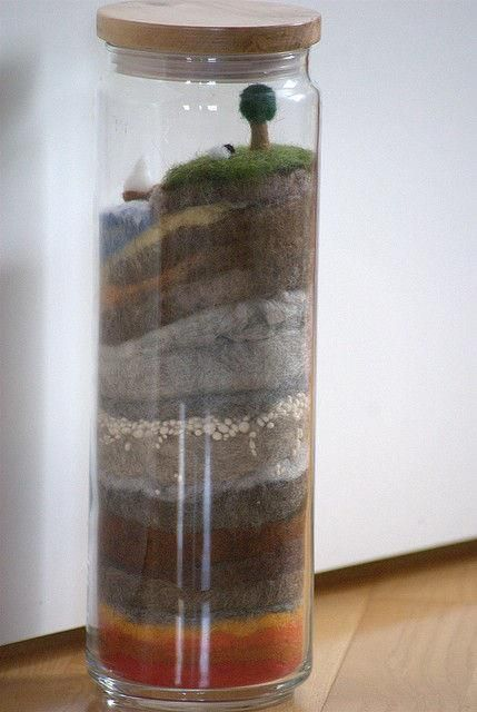 Montessori Elementary: earth layers in a jar