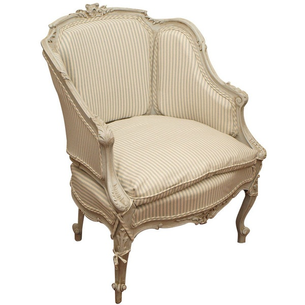 Silk Ticking Stripe On Gustavian Grey Chair French Style