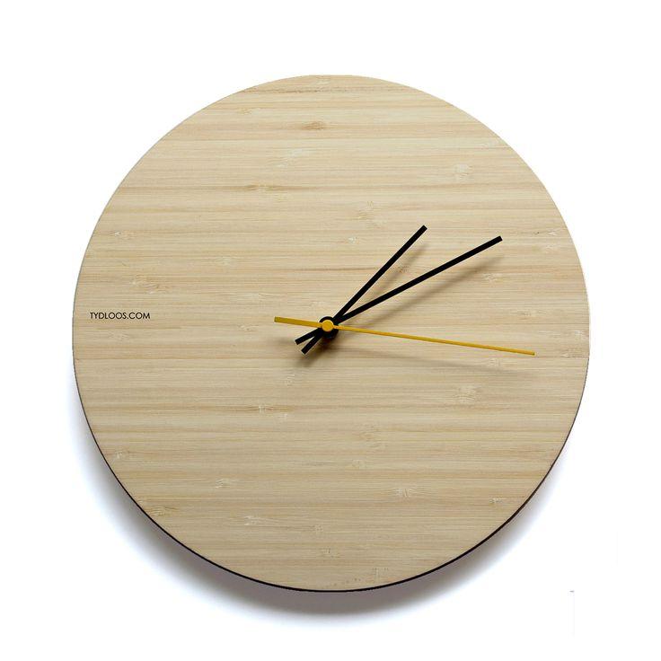 Natural Bamboo wall clock - timeless, modern design by TYDLOOS.COM
