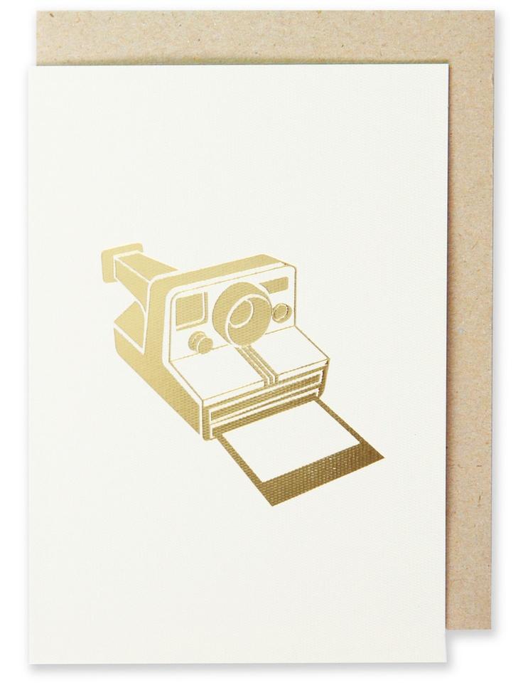001 - Camera Greeting Card Metallic Gold Foil, Blank Interior  www.splendourvendor.com