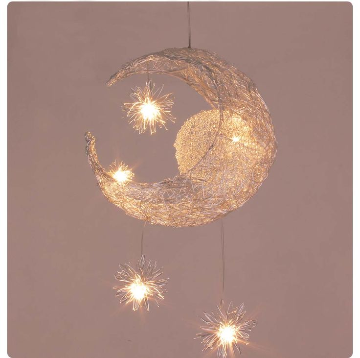 Kid's Room Moon&Star Pendant Light Body Material: Aluminum Switch Type: Knob switch Light Source: Halogen Bulbs Warranty: 1years Number of light sources: 5 Finish: Brushed Nickel Lighting Area: 10-15s
