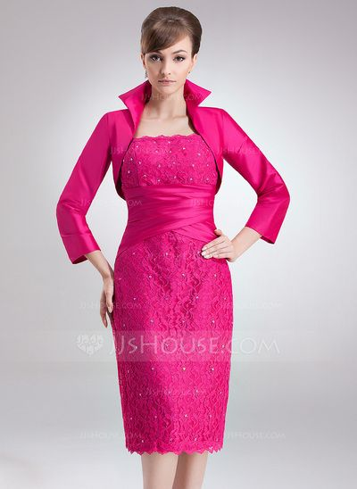 Mother of the Bride Dresses - $129.99 - Sheath Square Neckline Knee-Length Taffeta Lace Mother of the Bride Dress With Ruffle Beading (008006172) http://jjshouse.com/Sheath-Square-Neckline-Knee-Length-Taffeta-Lace-Mother-Of-The-Bride-Dress-With-Ruffle-Beading-008006172-g6172?ver=0wdkv5eh