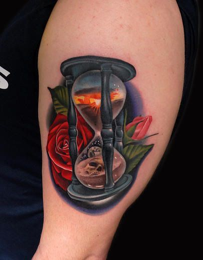 Roses Hour Glasses Tattoo: Rose Hourglass Day And Night Tattoo By Andres Acosta