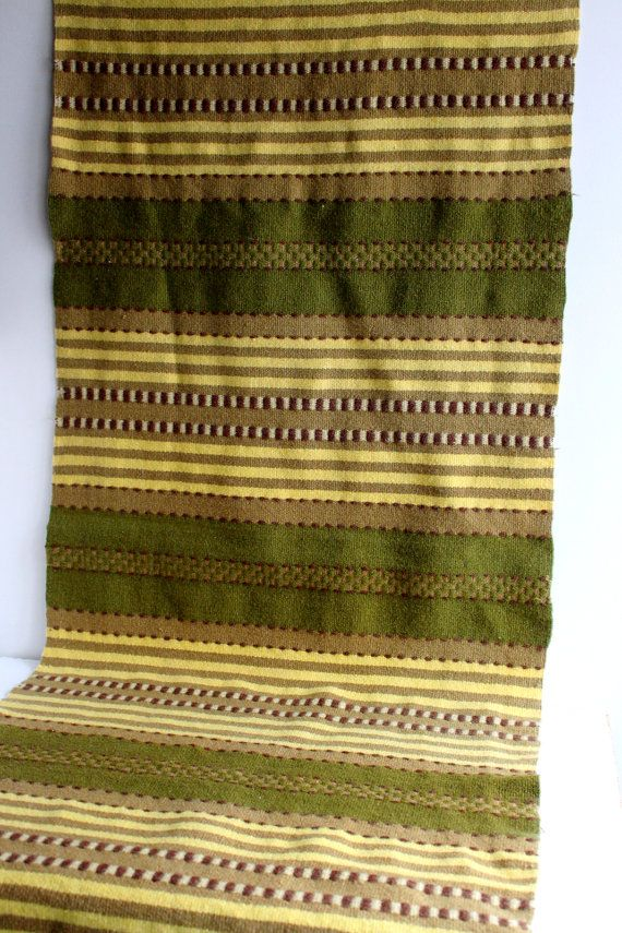 Vintage Wool Armchair Cover or Tapestry with Fringes, Handmade Woven Runner, Striped Woollen Rug, Green Yellow Brown, Scandinavian Blanket with by LittleRetronome