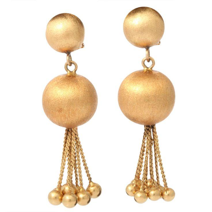 1950's  Pair of Italian 18kt Gold Ball and Fringe Earrings