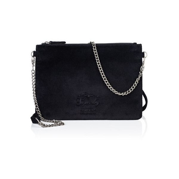 Superdry Velvet Clutch Bag ($37) ❤ liked on Polyvore featuring bags, handbags, clutches, black, embossed handbags, velvet purse, velvet handbag, zip purse and strap purse