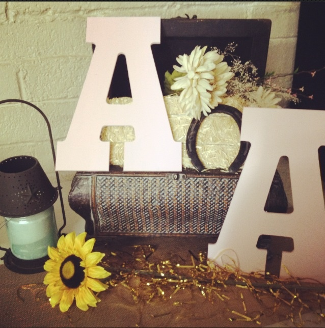 Country Bridal Shower  couples first name initials
