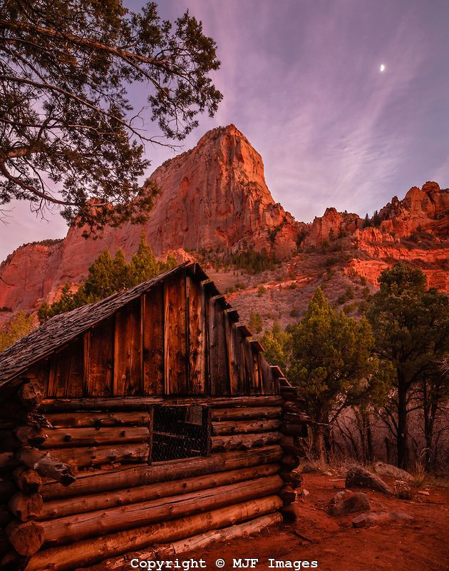 american southwest scenery | In the Kolob Canyons of Zion National Park stands an old log cabin.