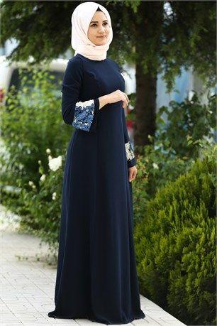 28013e59d89cb Famelin-7544-Kolu Payetli Elbise-Lacivert | Tesettür Abiye Modelleri ...