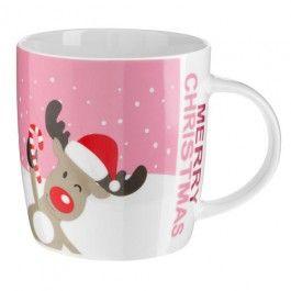 Festive design mug in pink colour, blue version also available. 9.5cm x 11.7cm x 9cm
