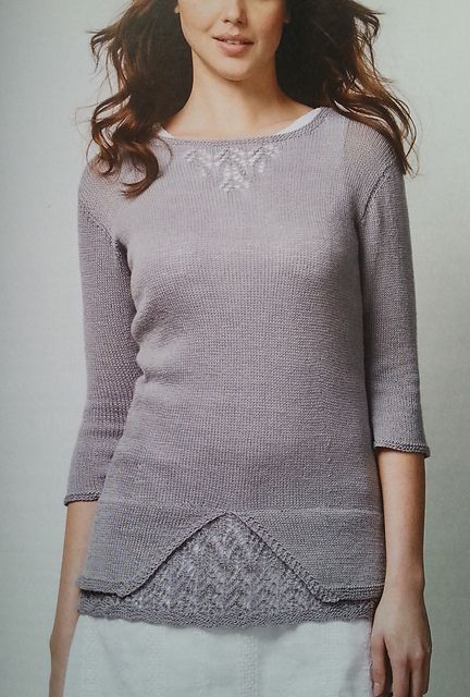 Knitted in a silky lace weight yarn this jumper has a touch of lace under the hem and at the neckline. The garment is ideal for special occasions or to wear with jeans for an elegant weekend.