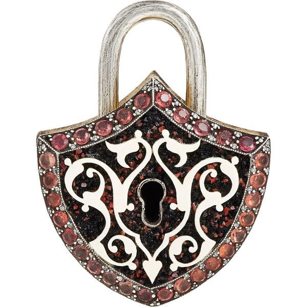 Sevan Biçakçi Shield-Shaped Padlock Charm (€16.325) ❤ liked on Polyvore featuring jewelry, pendants, colorless, sevan bicakci jewelry, charm jewelry, 24-karat gold jewelry, clear jewelry and clear crystal jewelry