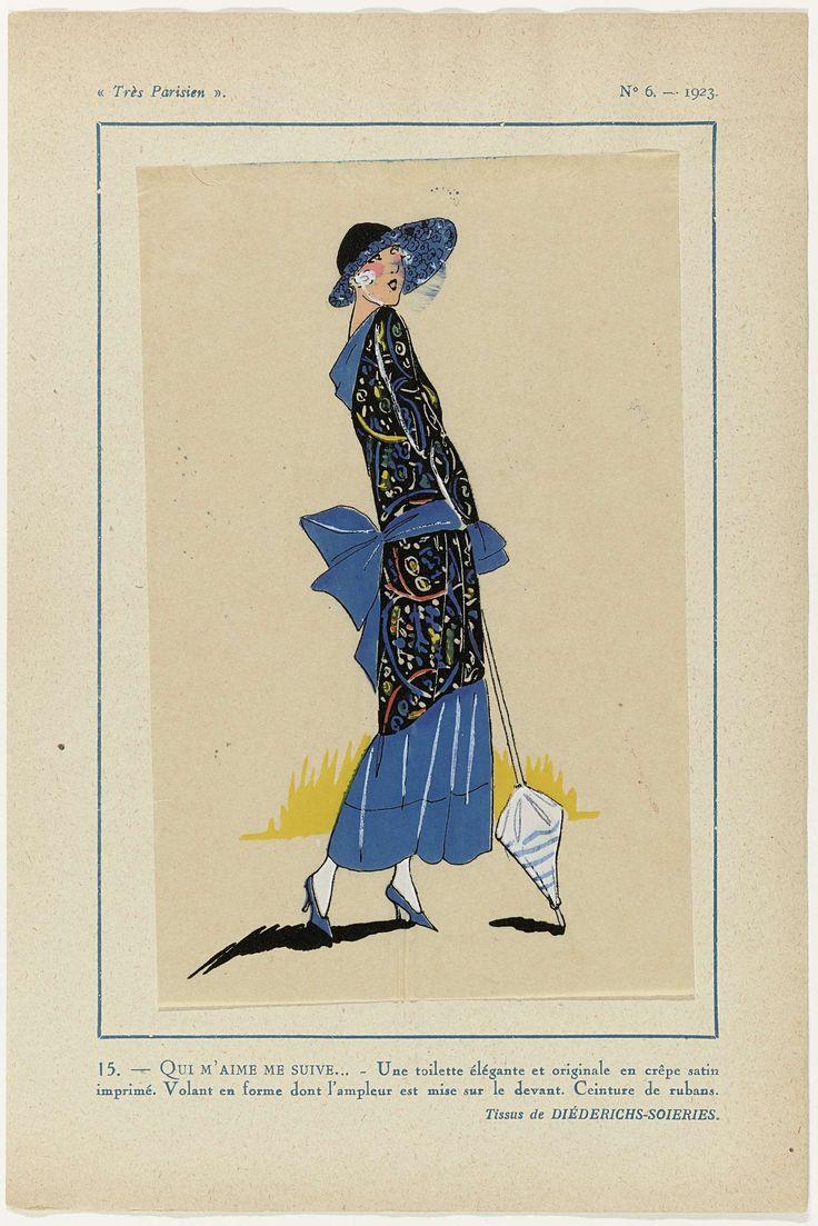 Anonymous | Très Parisien, 1923, No 6: 15. - QUI M'AIME ME SUIVE... - Une toilette élégante..., Anonymous, Diederichs-Soieries, G-P. Joumard, 1923 | Een toilette van bedrukte crêpe satijn. Volant die aan de voorzijde breder is. Ceintuur van linten. Verdere accessories: hoed met brede luifel, wandelstok(parasol?), pumps. Stoffen van Diéderichs-Soieries. Prent uit het modetijdschrift Très Parisien (1920-1936).