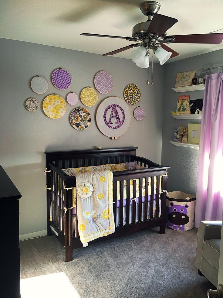 Baby girl nursery, lavender, yellow, grey, knitting, birds, sweet girl room