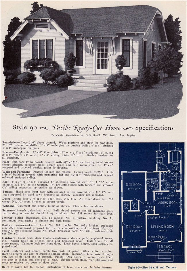 1925 Pacific Ready Cut Homes - Design No. 90 - California Clipped Gable Cottage Adorable! Less than 900 sq ft!