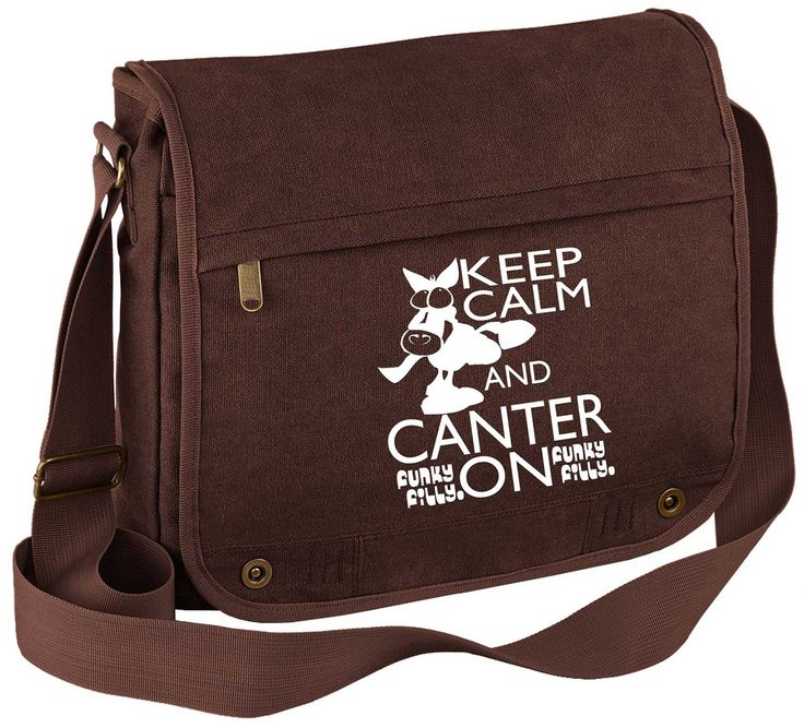Keep Calm and Canter On Vintage Canvas Messenger Bag