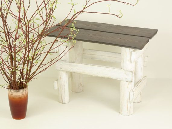 Handmade wooden bench table of reclaimed planks top Bank Couchtisch banc table basse