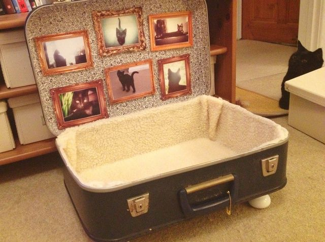 How to Make a Vintage Suitcase Cat Bed or Basket