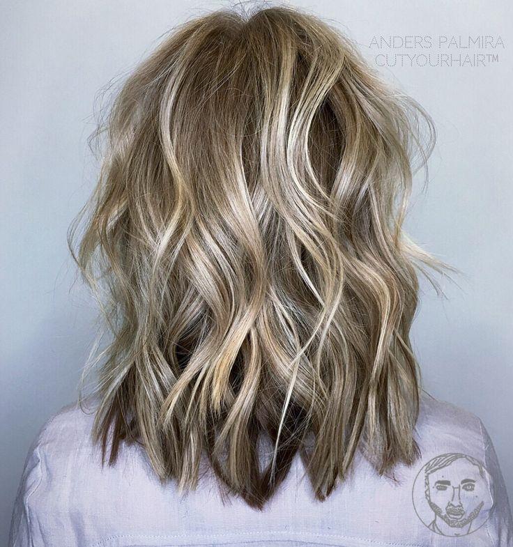 aveda wavy long blonde bob short