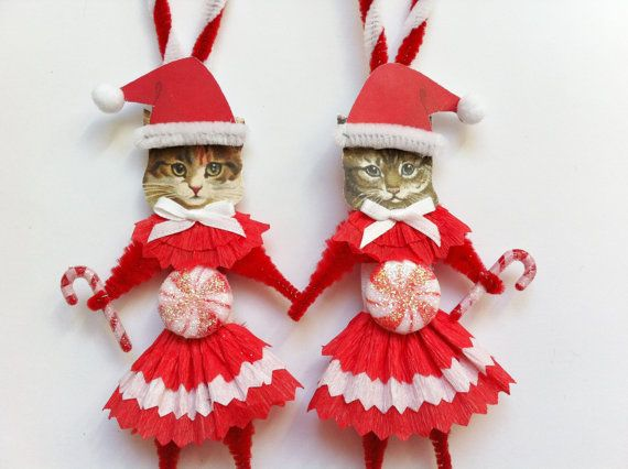 CAT CHRISTMAS ORNAMENTS kitty cat girl peppermint candy cane duo vintage style chenille ornaments set of 2