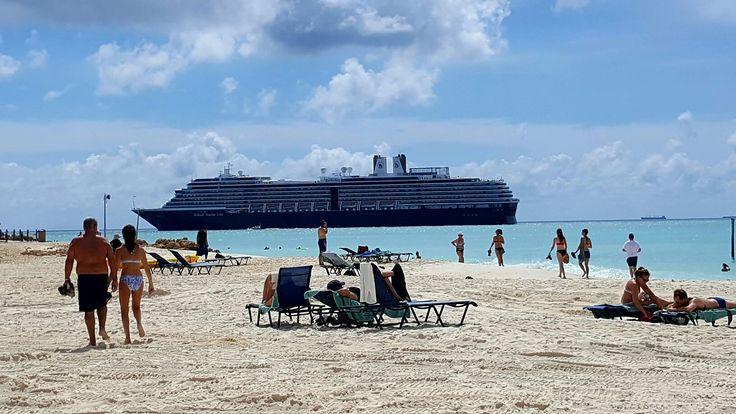 A cruise ship passing Eagle beach.
