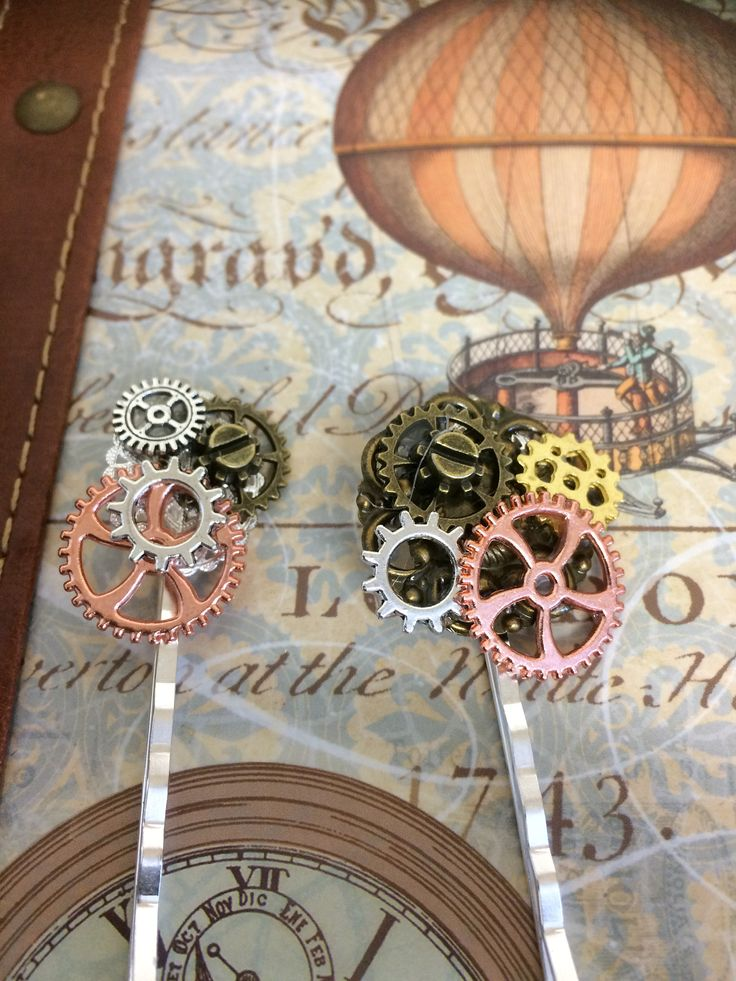 Steampunk Hair grips, Silver filigree bobby pins with various cogs and gears in mixed metals. Great for the Alternative wedding party by InspiredbySteamPunk on Etsy