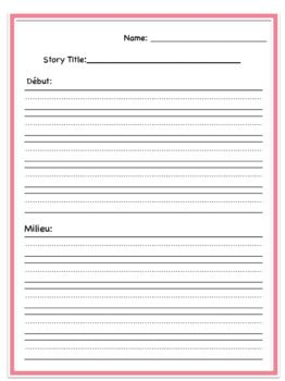 FRENCH Beginning, Middle and End Story Writing Template With Primary Lines *see my TPT store for this great product and many more ** Savvy Elementary Teacher