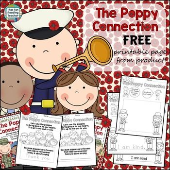 From The Poppy Connection song and picture book sets, these Veterans Day / Remembrance Day printables are samples of two of the activity pages, differentiated three ways. Thank you in advance, to those of you who generously take the time to leave feedback.Best wishes!Related:The Poppy Connection FREE - Canadian version (original - please read feedback here!)The Poppy Connection FREE- Veterans Day version The Poppy Connection FREE- Not country specific versionFall Readers and Activities…