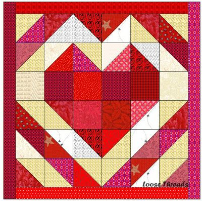 """Loose Threads: Heart Strings Table Mat Alternative  Cut 6 red squares 3 1/2"""" Cut 2 background squares 3 1/2"""" Make 28 half square triangles that measure 3 1/2"""" (finish at 3 inches)  Your table mat (or wall hanging) will finish at 18 inches."""
