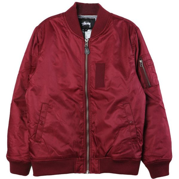 Stussy MA-1 Burgundy Bomber (£120) ❤ liked on Polyvore featuring outerwear, jackets, tops, coats & jackets, bomber style jacket, stussy, red bomber jacket, stussy jacket and bomber jacket