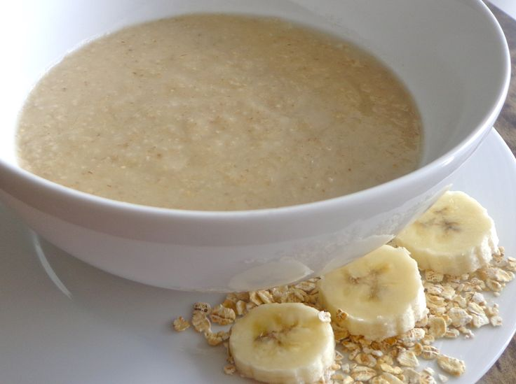 Oatmeal banana puree - Cook a 1/2 cup of easy instant oat and combine them in the blender with half of a banana. Briefly puree to ensure the banana is incorporated throughout the entire bowl of oatmeal.
