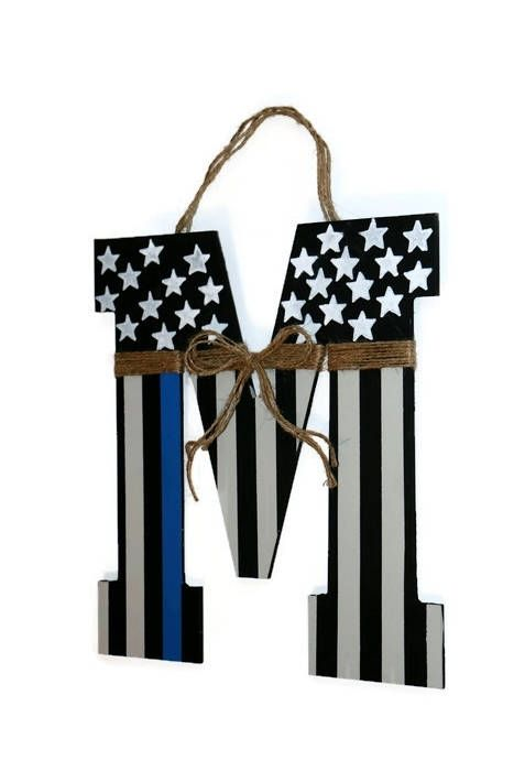 Thin blue line American Flag Letter Wreath Door Wreath